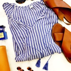 Old Navy Tops - Gauzy Striped Tassel Tie Neck Flowy Boho Blouse